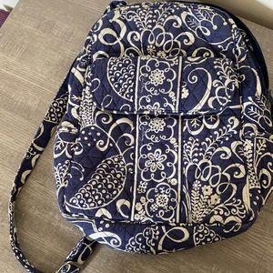 Vera Bradley Twirly Bird Navy Mini Back Pack Like New Condition